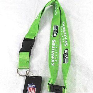 NFL Seattle Seahawks Bright Green/Blue Lanyard Key